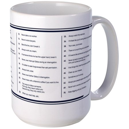 CafePress - NCIS Gibbs' Rules Large Mug - 15 oz Ceramic Large (Gordon 15 Oz Ceramic Mug)