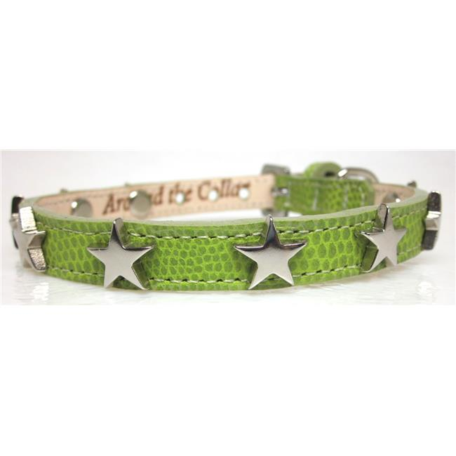 Around the Collar Lizard Grain Leather Collar with Nickel Stars