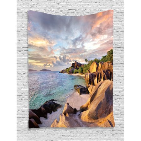 Seaside Rocks - Seaside Decor Wall Hanging Tapestry, Tropical Rock Sandy Beach At Sunset In Island With Majestic Sky Light Art On Earth Photo, Bedroom Living Room Dorm Accessories, By Ambesonne