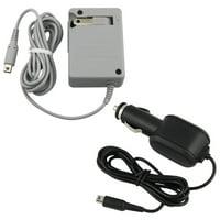 Insten Rapid Car + Folding Travel Adapter AC Wall Charger Power Set for Nintendo DSi / Dsi XL / NDSi / 3DS / 3DS XL / 2DS