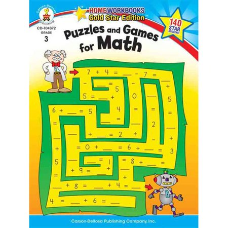 Puzzles And Games For Math  Grade 3  Gold Star Edition