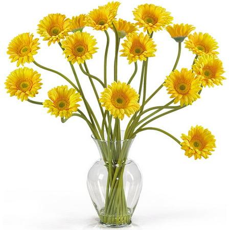 Nearly Natural Gerber Daisy Liquid Illusion Silk Flower Arrangement, Yellow