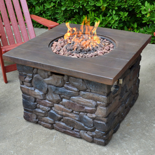 Tortuga Outdoor Yosemite Faux Wood Stone Propane Firepit Table by Tortuga Outdoor