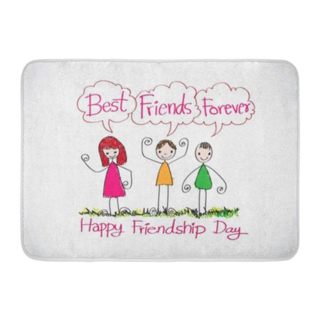 GODPOK Celebration Abstract Happy Friendship Day and Best Friends Forever Idea Design Brotherhood Chain Rug Doormat Bath Mat 23.6x15.7 inch](Spring Celebration Ideas)