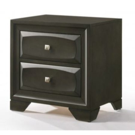 Benzara Two Drawer Nightstand With Brushed Nickel Accent And Chamfered Legs, Antique Gray