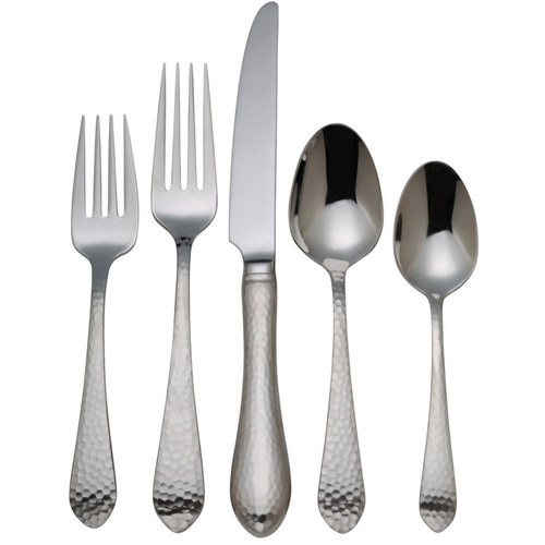 Reed & Barton Hammered Antique 5 Piece Flatware Set by