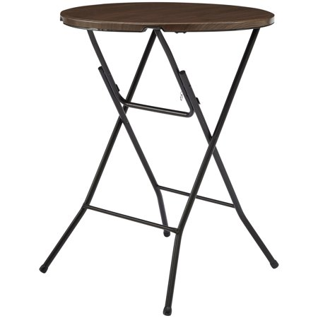 """(4-Pack) Mainstays 31"""" Round High Top Folding Table Walnut"""