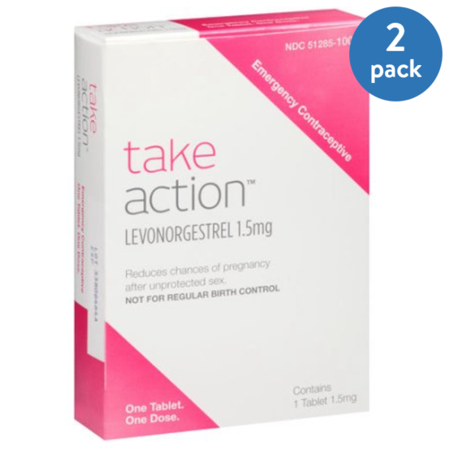 (2 Pack) Take Action Levonorgestrel Emergency Contraceptive, 1.5