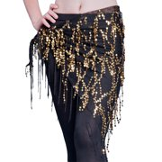 Women's Belly Dancing Belt Sequined Fringed Triangle Waist Chain Belly Dance Hip Scarf Belt Black gold Free size