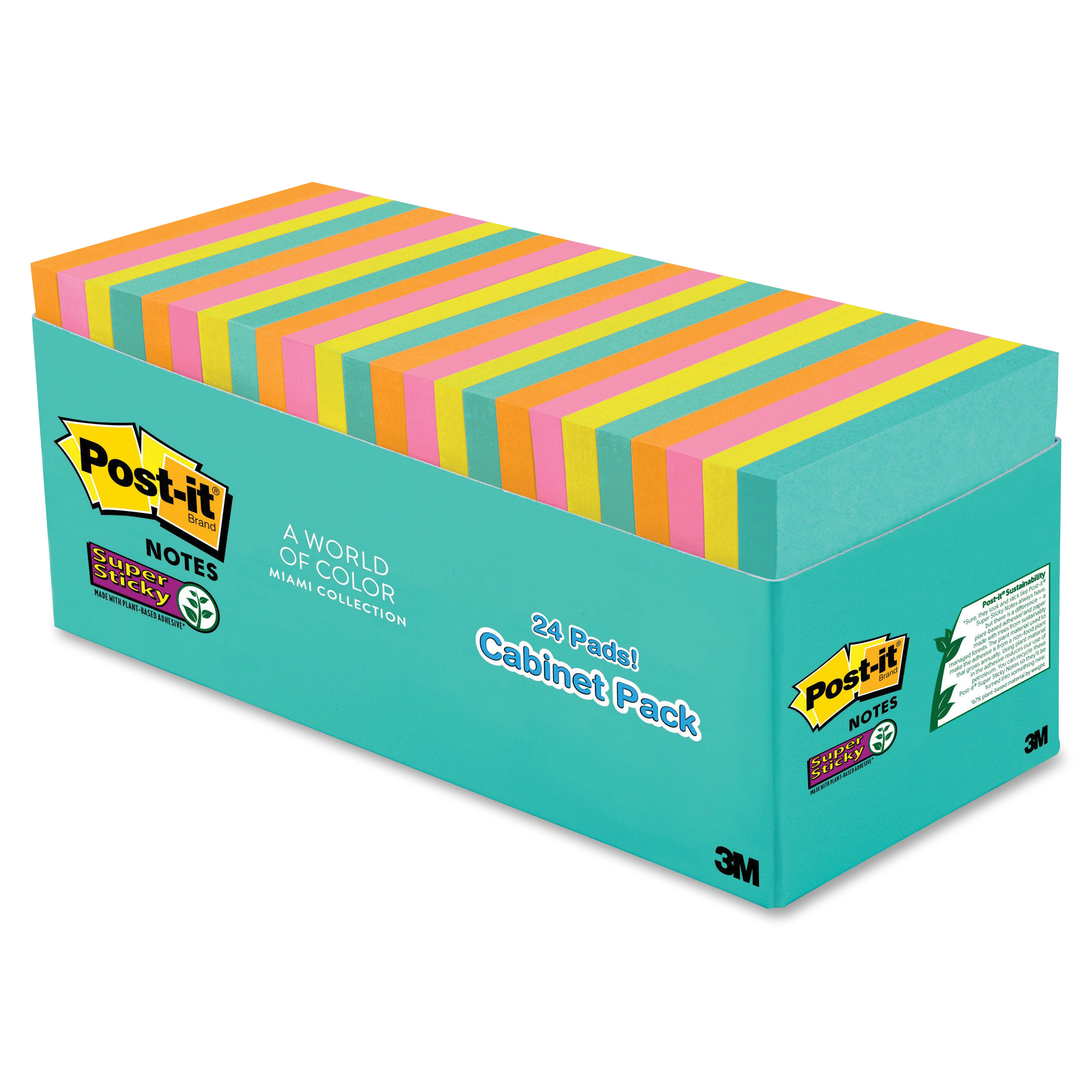 Post It Super Sticky Notes Cabinet Pack, 3in. X 3in., Miami