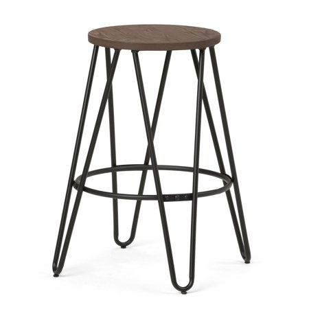 simpli home simeon 24 inch metal counter height stool with wood seat. Black Bedroom Furniture Sets. Home Design Ideas