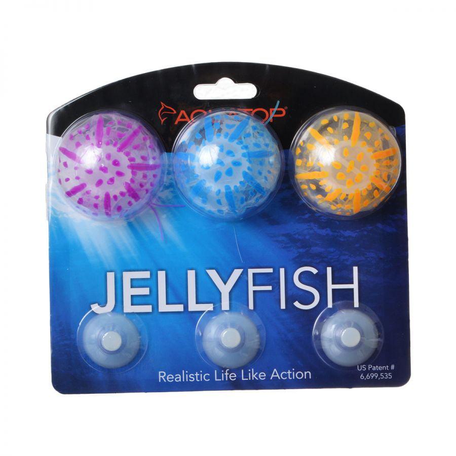 Aquatop Silicone Jellyfish Aquarium Ornament - Assorted Colors Small - 3 Pack - Pack of 4