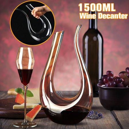 Lead Crystal Ships Decanter (Wine Decanter 1500ML Luxurious Crystal Glass U-shaped Horn Pourer Container Handle Lead Free Horn Kitchen & Dining Red Wine)