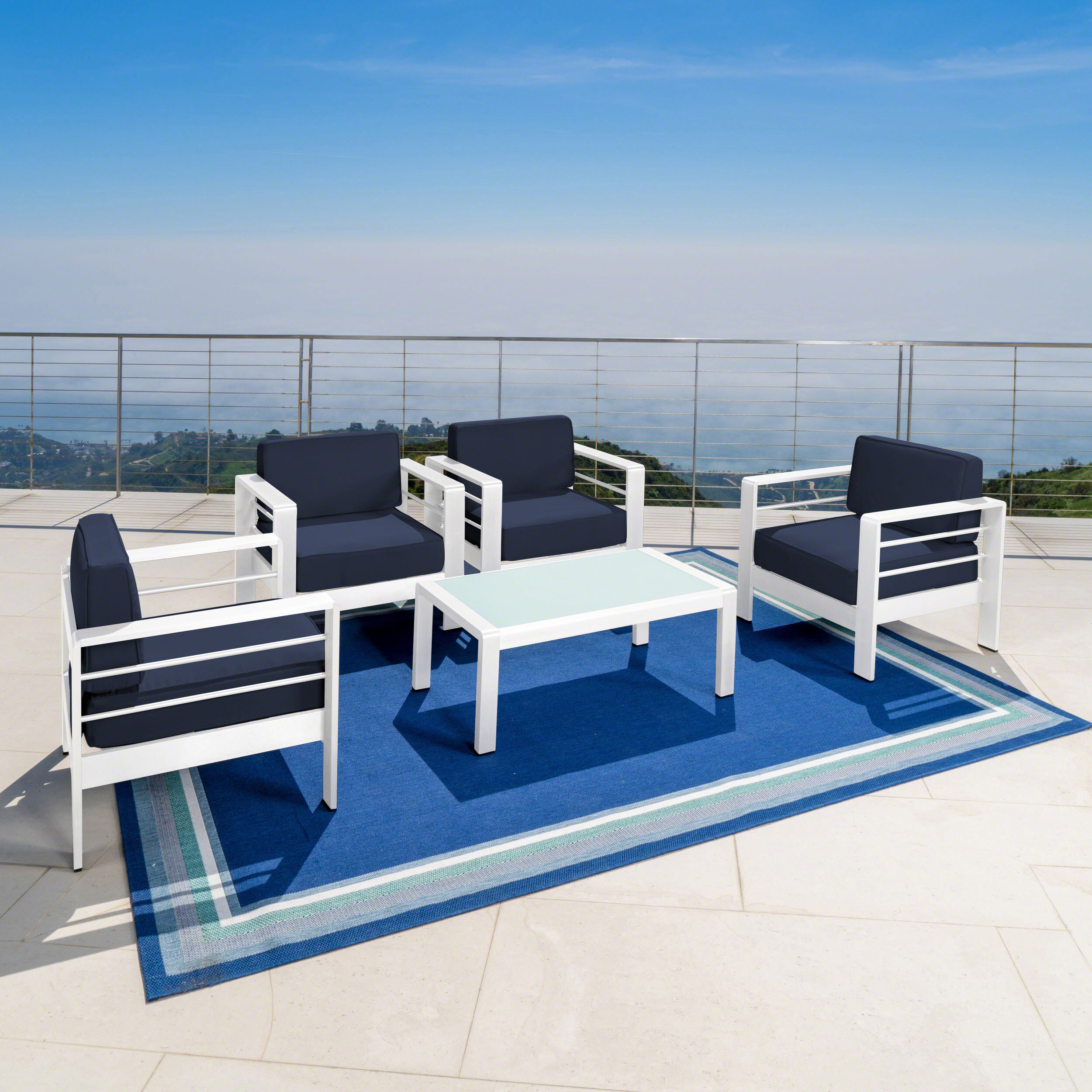 Crested Bay Outdoor 5 Piece Aluminum Chat Set with Water Resistant Cushions, White and Navy Blue
