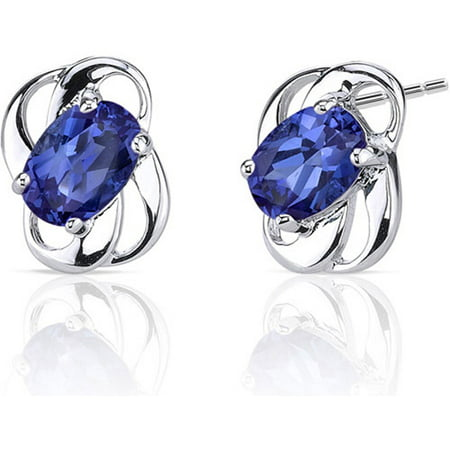 2.00 Carat Created Blue Sapphire Rhodium-Plated Sterling Silver Stud Earrings
