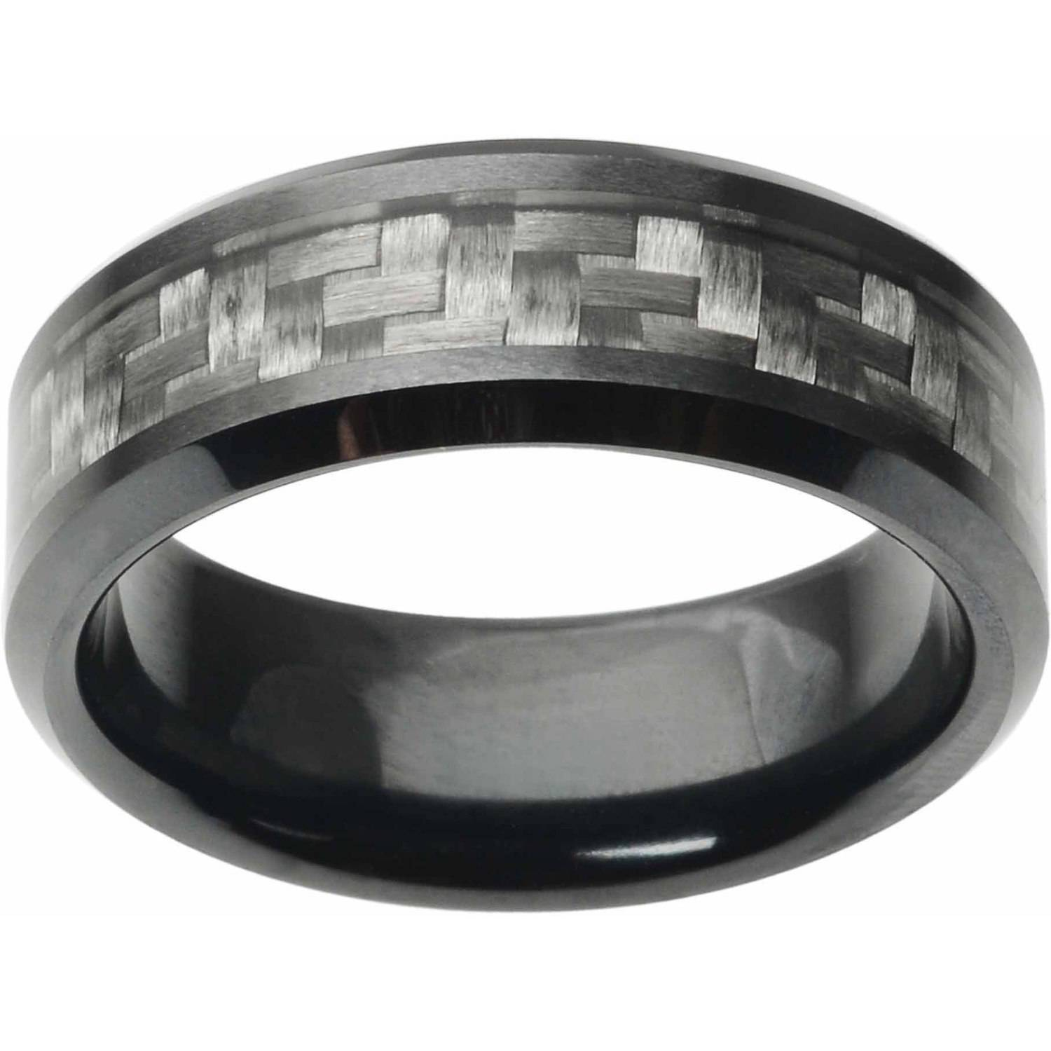 Daxx Men's Ceramic Carbon Fiber Inlay Band, 8mm