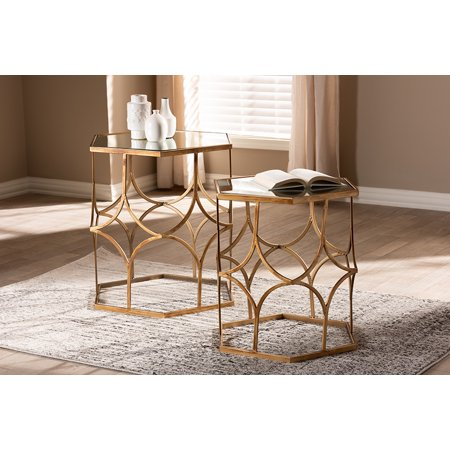 Baxton Studio Sada Modern and Contemporary Antique Gold Finished Metal and Glass 2-Piece Stackable Accent Table Set