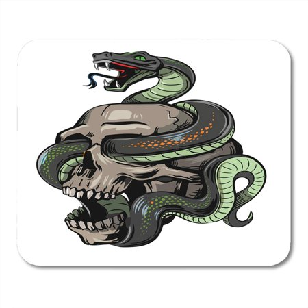 KDAGR Cartoon Black Tattoo Skull Snake on White Halloween Motorcycle Mousepad Mouse Pad Mouse Mat 9x10 inch - Halloween Skulls Cartoon