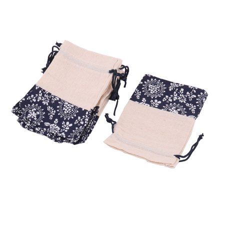 Home Cotton Linen Flower Pattern Keys Coins Trinket Holder Drawstring Bag 10 Pcs - image 5 of 5
