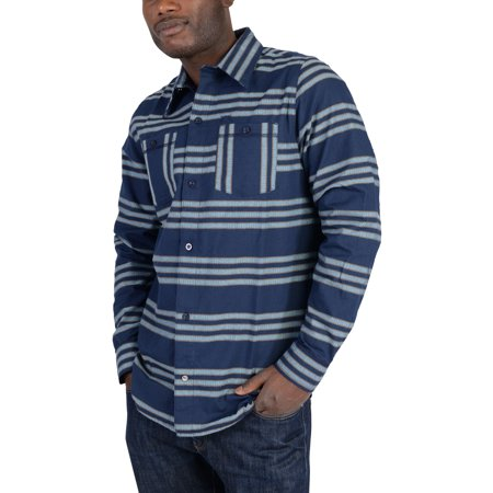 - Mens Originals Silas Striped Flannel Skateboarding Shirt Dark Blue