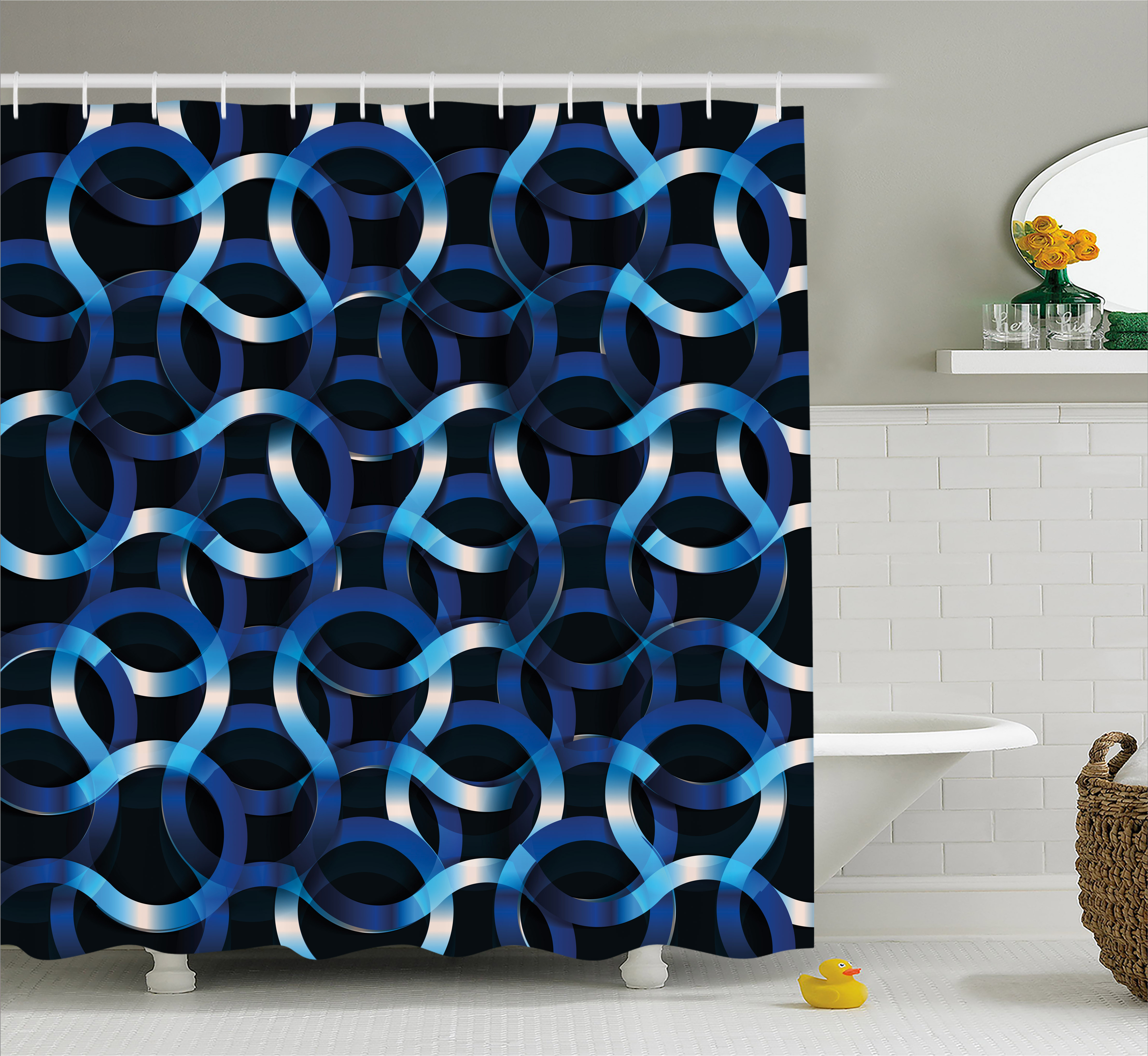 Dark Blue Shower Curtain, Curvy Shaped Entangled Complex Industrial Modern Mesh Machinery Concept, Fabric Bathroom Set with Hooks, 69W X 70L Inches, Blue Dark Blue White, by Ambesonne