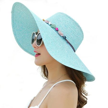 5ef06870d Women's Wide Brim Hat Summer Beach Sun Straw Cap Floppy Hats (Sky Blue)