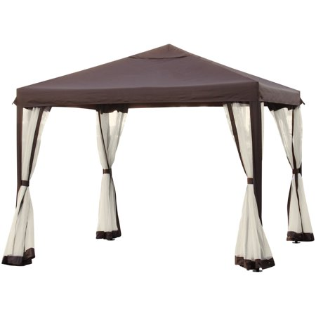 Best Choice Products 10x10ft Outdoor Garden Patio Canopy Gazebo w/ Fully Enclosed Mesh Insect Screen - Brown ()