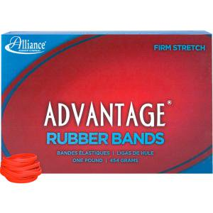 "Alliance Red Advantage Rubber Bands, Size #30 (2"" x 1/8"") 1 lb. Box, Red Color"