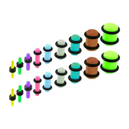 BodyJ4You 18PCS Plugs Stretching Kit 14G-00G Mix Ear Gauges Set Acrylic Double O-Ring (Green Color Mix)