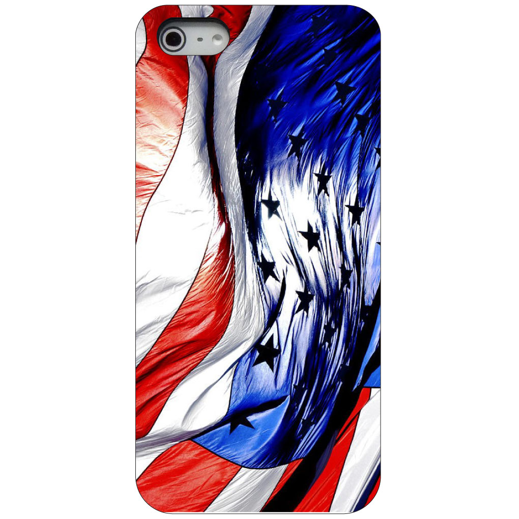 CUSTOM Black Hard Plastic Snap-On Case for Apple iPhone 5 / 5S / SE - Red White Blue United States Flag Waving