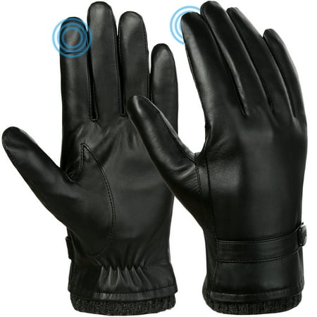 Vbiger Men Leather Gloves Warm Winter Gloves Anti-slip Touch Screen Gloves Windproof Cold Weather Gloves Casual Outdoor Sports Gloves, Black ()