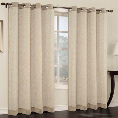 Urbanest Faux Linen Solid Sheer Grommet Curtain Panels (Set of 2)