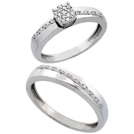 10k White Gold 2-Piece Diamond Ring Set ( Engagement Ring & Man's Wedding Band ), 0.22 Carat Brilliant Cut Diamonds, 1/8 in. (3.5mm)