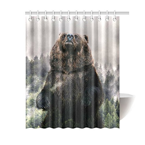 GCKG Misty Forest Shower Curtain Bear Pine Polyester Fabric Bathroom Sets 60x72 Inches