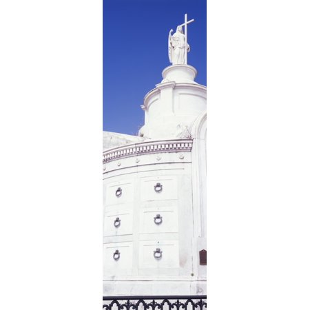Low Angle View Of A Statue St Louis Cemetery New Orleans Louisiana Usa Canvas Art   Panoramic Images  36 X 12