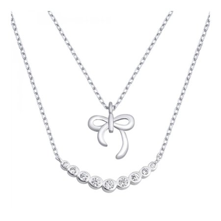925 Sterling Silver Bow Necklace With Cubic Zirconia