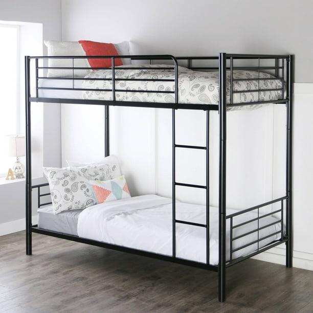 Premium Twin Over Black Metal Bunk Bed By Manor Park Walmart Com