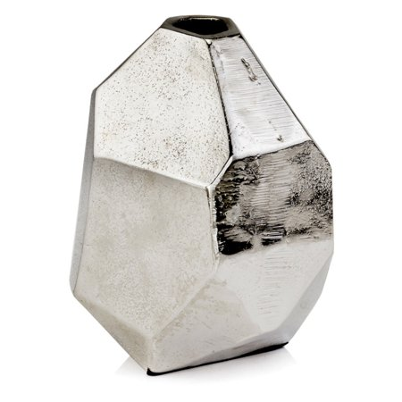Modern Day Accents Faceta Raw Silver Bud Vase ()