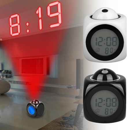 Projection Alarm Clock with Voice Prompt,Nap/Sleep Timer,Battery Backup,3 Mode Time Setting,12H/24H Time System, ℃/℉ Switchable for Temperature,Indoor Temperature Display-Black/White