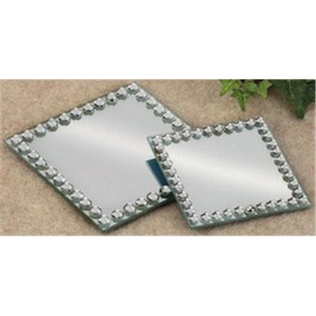 Biedermann & Sons H417MD 5.12 in. Square Beaded Mirror Plate, Medium - Pack of