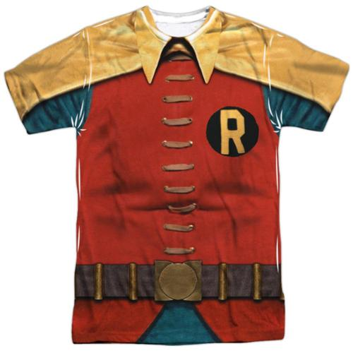 Batman Classic Tv Robin Costume Mens Sublimation Shirt Sublimate White LG