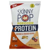 SkinnyPop Protein Popcorn, Cheddar and Cracked Pepper Popcorn, 4.4oz, Gluten Free Popcorn, Non-GMO, No Artificial Ingredients, Healthy Snack