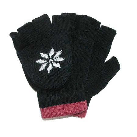 Boys' Stretch Convertible Fingerless Winter Gloves, Black, 100% Acrylic By CTM ()
