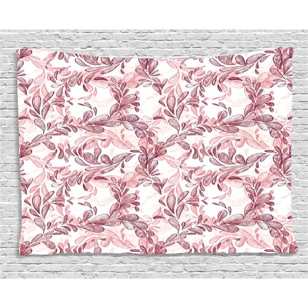 Maroon And White (Floral Tapestry, Romantic Nature Scroll Style Pattern with Hand Drawn Leaves and Petals, Wall Hanging for Bedroom Living Room Dorm Decor, 60W X 40L Inches, Maroon Coral and White, by)