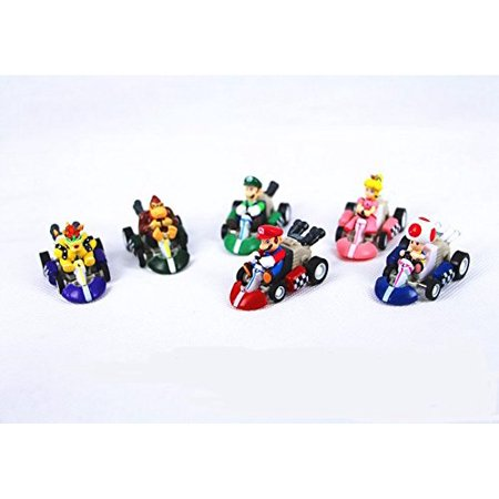 6PCS Jack's family Mario Kart Cars Pull Backs Figure Set