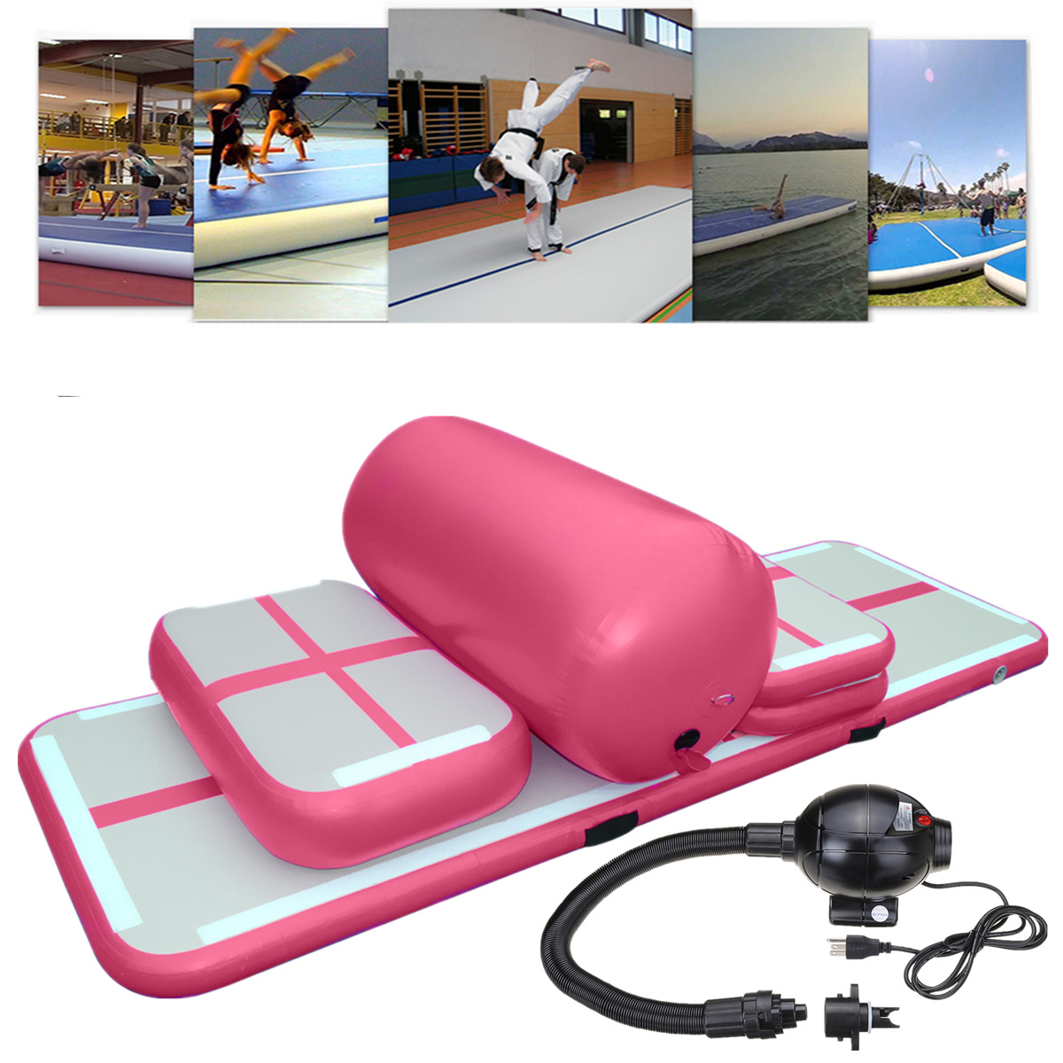 Pink Mats Foldable Inflatable Air Track Tumbling Gymnastic/Yoga/Taekwondo/Cheerleading Training Exercise Practice Mat with 110V Electrical Pump