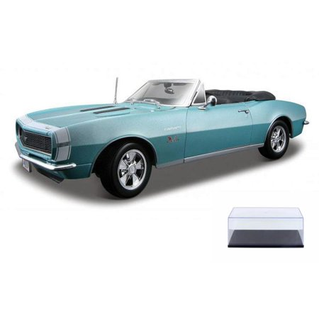 Diecast Car & Display Case Package - 1967 Chevy Camaro SS 396 Convertible, Turquoise - Maisto 31684 - 1/18 Scale Diecast Model Toy Car w/Display Case