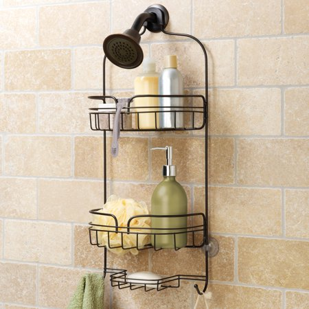 Hawthorne place large shower caddy bronze stainless steel for Best place for bathroom accessories