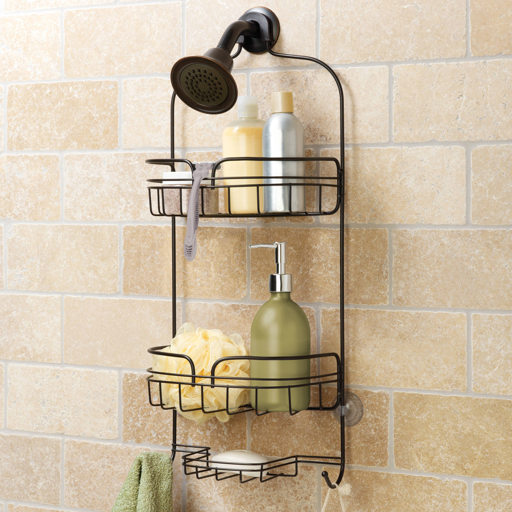 hawthorne place large shower caddy bronze stainless steel