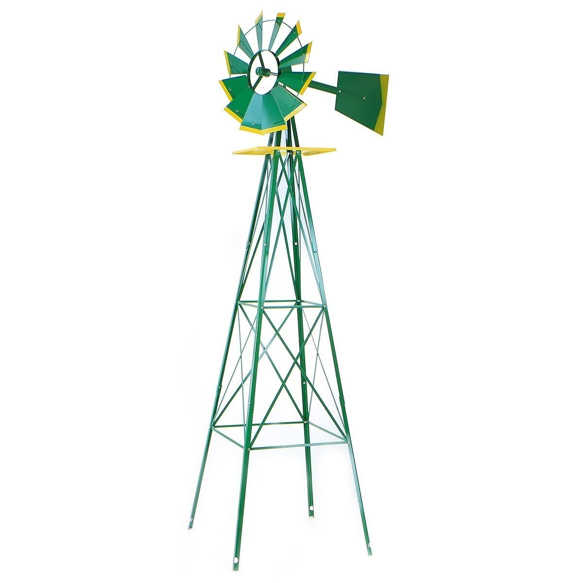 8ft Green Metal Windmill Yard Garden Wind Mill Weather Rust Resistant Hd Steel, This... by